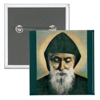 Retrato de Charbel del santo Pin Cuadrado