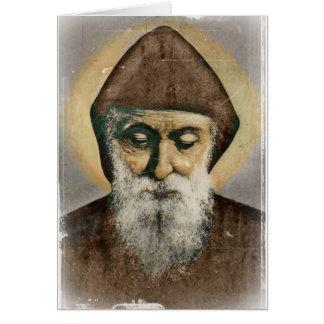 Retrato de Charbel del santo Tarjeta De Felicitación