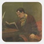 Retrato de Charles Baudelaire 1847 Pegatina Cuadrada