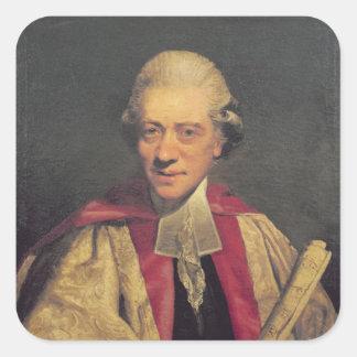 Retrato de Charles Burney, c.1781 Pegatina Cuadrada