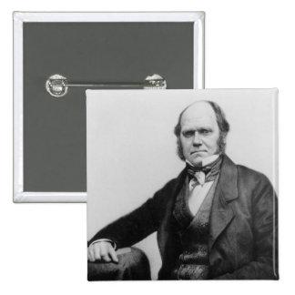 Retrato de Charles Darwin, 1854 Pin Cuadrado
