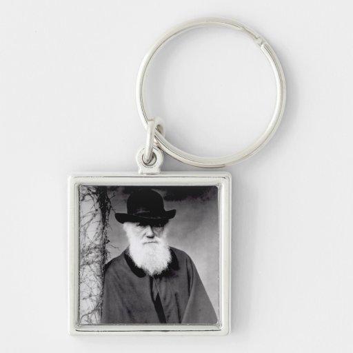 Retrato de Charles Darwin 1881 Llavero Cuadrado Plateado