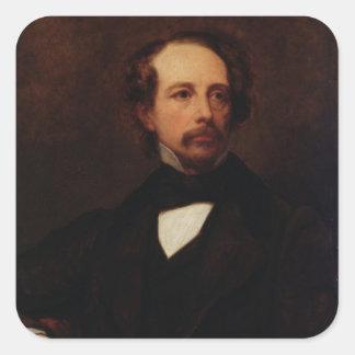 Retrato de Charles Dickens 1855 Pegatinas Cuadradases