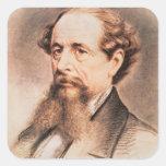 Retrato de Charles Dickens, 1869 Calcomanías Cuadradas Personalizadas