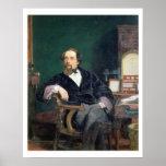 Retrato de Charles Dickens (aceite en lona) Impresiones