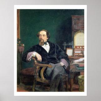Retrato de Charles Dickens aceite en lona Impresiones