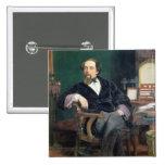 Retrato de Charles Dickens (aceite en lona) Pin Cuadrada 5 Cm