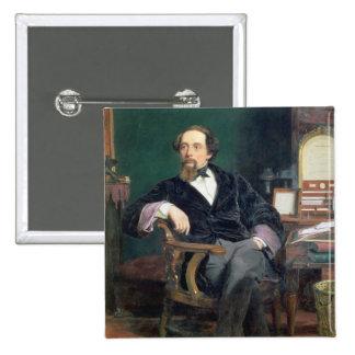 Retrato de Charles Dickens (aceite en lona) Pin Cuadrado