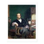 Retrato de Charles Dickens (aceite en lona) Postal
