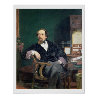 Retrato de Charles Dickens (aceite en lona) Póster
