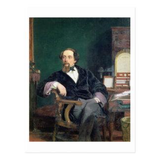 Retrato de Charles Dickens (aceite en lona) Tarjetas Postales