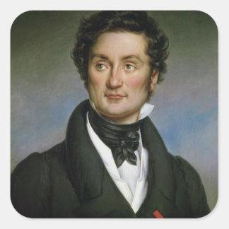 Retrato de Charles Nodier 1824 Calcomanía Cuadrada Personalizada