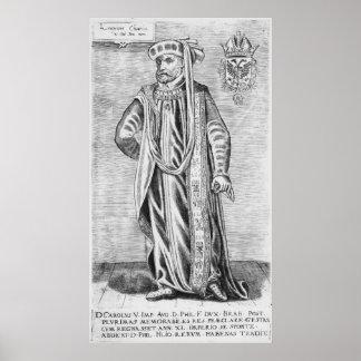 Retrato de Charles V, emperador romano santo Póster