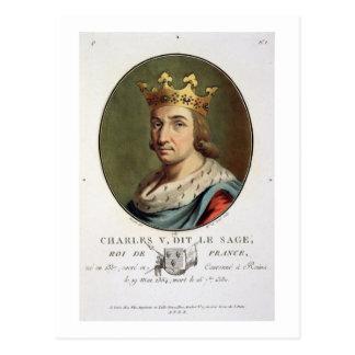 """Retrato de Charles V, llamado """""""" el rey sabio de F Postal"""
