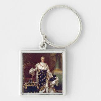 Retrato de Charles X en trajes de la coronación, 1 Llavero Cuadrado Plateado