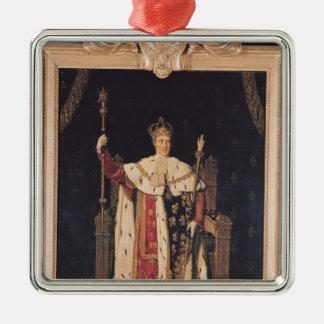 Retrato de Charles X en trajes de la coronación, Adorno Cuadrado Plateado
