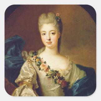 Retrato de Charlotte Aglae de Orleans, 1720s Pegatina Cuadrada
