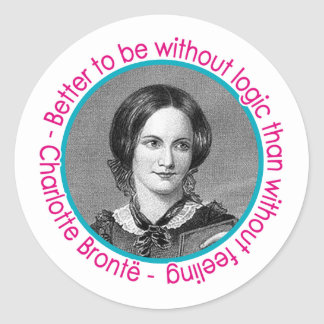 Retrato de Charlotte Bronte con cita Pegatinas Redondas