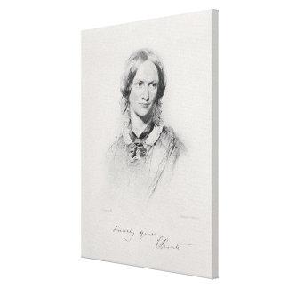 Retrato de Charlotte Bronte, grabado por el camina Impresión En Lona Estirada