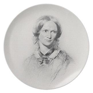 Retrato de Charlotte Bronte, grabado por el camina Platos De Comidas
