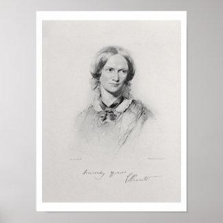 Retrato de Charlotte Bronte, grabado por el camina Póster