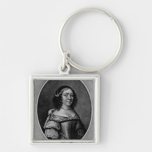 Retrato de Charlotte, condesa de Derby Llavero Cuadrado Plateado