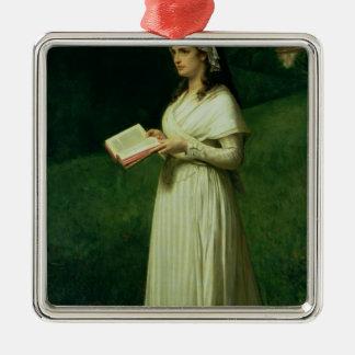Retrato de Charlotte Corday Adorno Cuadrado Plateado