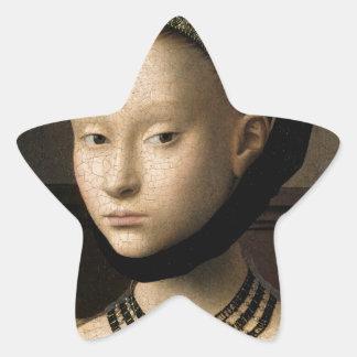 Retrato (de Christus) de una chica joven Pegatina En Forma De Estrella