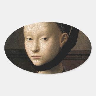 Retrato (de Christus) de una chica joven Pegatina Ovalada