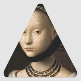Retrato (de Christus) de una chica joven Pegatina Triangular