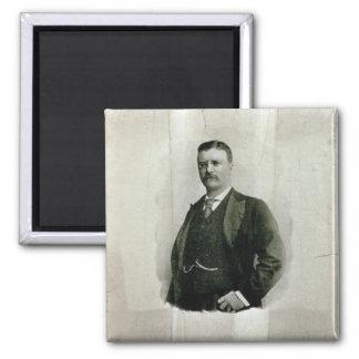 Retrato de coronel Theodore Roosevelt (litho) Imán Cuadrado