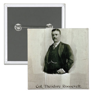 Retrato de coronel Theodore Roosevelt (litho) Pin Cuadrado
