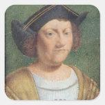 Retrato de Cristóbal Colón Pegatina Cuadradas Personalizada
