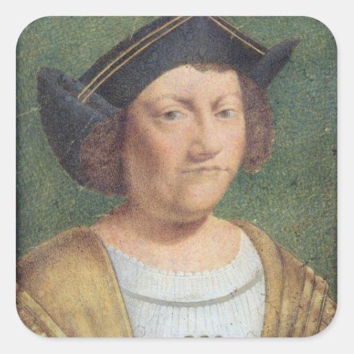 Retrato de Cristóbal Colón Pegatina Cuadrada