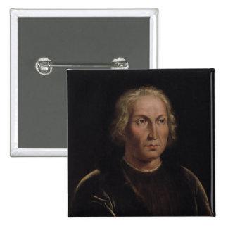Retrato de Cristóbal Colón Pin Cuadrada 5 Cm