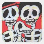 Retrato de Dia de los Muertos Family Pegatinas Cuadradases Personalizadas