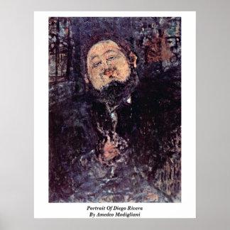 Retrato de Diego Rivera de Amedeo Modigliani Poster