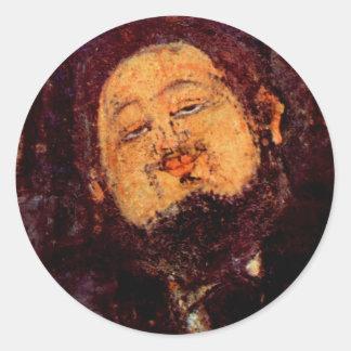 Retrato de Diego Rivera del artista pintado por Pegatina Redonda