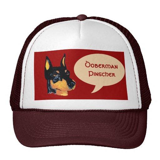 Retrato de Dobie del negro del ~ del Pinscher del  Gorras De Camionero