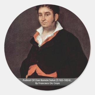 Retrato de Don Ramón Satué (1765-1824) Pegatina Redonda