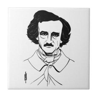 Retrato de Edgar Allan Poe Azulejo Cerámica