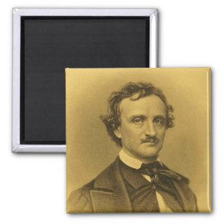 Retrato de Edgar Allan Poe Imán Cuadrado