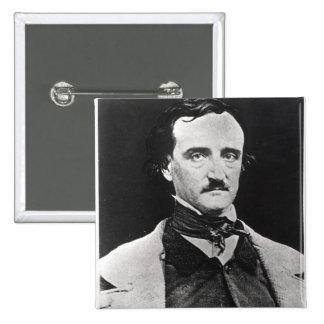 Retrato de Edgar Allan Poe Pin Cuadrado
