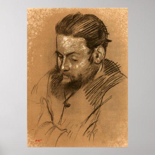 Retrato de Edgar Degas de Diego Martelli 2 Póster