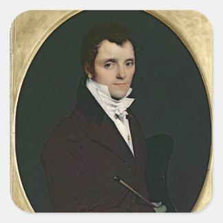 Retrato de Edme Bochet, 1811 Pegatina Cuadrada