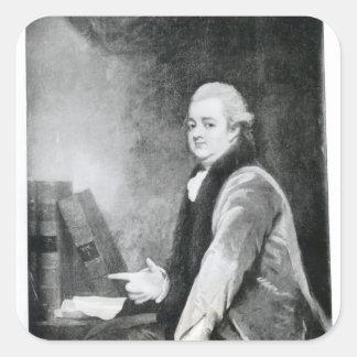 Retrato de Edward Gibbon Pegatina Cuadrada