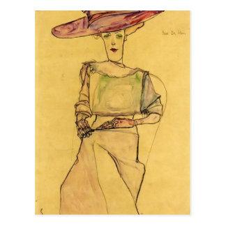 Retrato de Egon Schiele- de la señora el Dr. Horak Postales