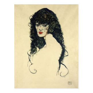Retrato de Egon Schiele- de una mujer con el pelo  Postales
