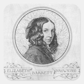 Retrato de Elizabeth Barrett Browning Pegatina Cuadrada