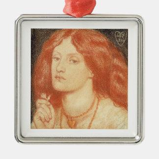 Retrato de Elizabeth Siddal (1834-62), 1860 (rojo Adorno Navideño Cuadrado De Metal